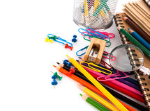 De volta à escola: Artigos de papelaria da escola Imagem de Stock