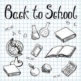 De volta à escola Assuntos de escola no papel de gráfico Foto de Stock