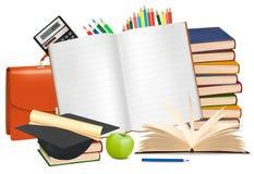 De volta à escola. Bloco de notas com fontes de escola. Imagem de Stock