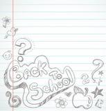 De volta à escola - caderno com doodles Foto de Stock