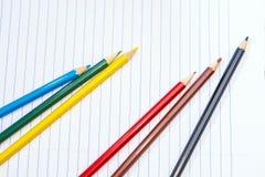 De volta à escola Colora lápis stationery Caderno Imagem de Stock Royalty Free