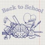 De volta à escola com artigos de papelaria do cérebro ilustração do vetor
