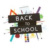 De volta à escola com fontes de escola Ilustração do vetor Foto de Stock Royalty Free