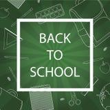 De volta à escola com fontes de escola no fundo verde Ilustração do vetor ilustração stock