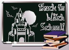 De volta à escola da bruxa Cartão da mágica do convite Fotos de Stock Royalty Free