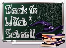 De volta à escola da bruxa Cartão _1 do convite Fotografia de Stock