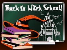 De volta à escola da bruxa Cartão mágico Fotografia de Stock