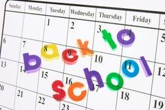 De volta à escola e ao calendário Imagens de Stock Royalty Free