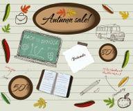 De volta à escola e ao poster da venda do outono. Ilustração do Vetor
