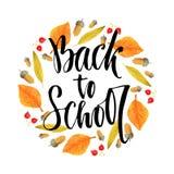 De volta à escola Frase caligráfica no fundo da estação do outono Rotulação do vetor Imagem de Stock Royalty Free