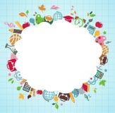 De volta à escola - fundo com ícones da instrução Imagens de Stock Royalty Free