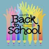 De volta à escola Fundo do lápis da mão Imagens de Stock