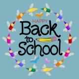 De volta à escola Fundo do lápis da mão Foto de Stock Royalty Free