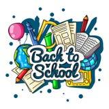 De volta à escola Grande ilustração de cor com fontes da inscrição e de escola em um fundo branco Globo, lápis, cadernos, te Fotografia de Stock