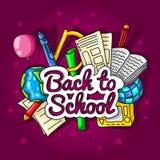 De volta à escola Grande ilustração de cor com fontes da inscrição e de escola em um fundo brilhante Fotos de Stock Royalty Free