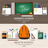 De volta à escola Ilustração do vetor Estilo liso Educação e cursos em linha, cursos da Web, ensino eletrónico Estudo, criativo Foto de Stock Royalty Free