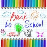 De volta à escola, lápis no fundo de uma página do caderno Imagens de Stock