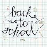 De volta à escola Mão tirada de volta às garatujas da escola Fundo de papel Ilustração do vetor Entregue artigos da escola do des ilustração do vetor