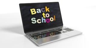De volta à escola na tela do portátil ilustração 3D Foto de Stock
