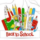 De volta à escola O grupo de mercadorias para o estudo e o trabalho ilustração royalty free