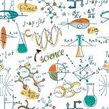 De volta à escola: os objetos do laboratório de ciência rabiscam o teste padrão sem emenda dos esboços do estilo do vintage, ilustração do vetor