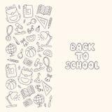 De volta à escola Primeiro setembro Dia do conhecimento lettering linear ilustração stock