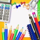 De volta à escola Projeto da bandeira Moldes com ferramentas das fontes Lugar para seu texto Lugar para seu texto Realístico merg Imagem de Stock Royalty Free