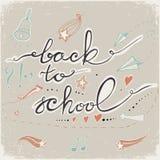 De volta à escola rabisca com sino, estrelas, corações e setas Ilustração do vetor ilustração royalty free