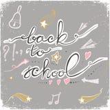 De volta à escola rabisca com sino, estrelas, corações e setas Ilustração do vetor ilustração stock