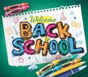 De volta à garatuja da escola escrita em um pedaço de papel com pastéis coloridos Imagem de Stock Royalty Free