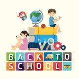 De volta à ideia da educação do projeto da escola Ilustração do vetor ilustração stock