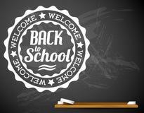 De volta à ilustração branca do vetor da escola em um quadro Imagem de Stock Royalty Free