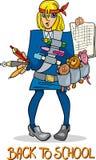 De volta à ilustração dos desenhos animados da escola ilustração stock