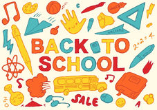 De volta à mão da escola ilustração tirada do vetor Imagem de Stock