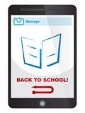 De volta à mensagem da escola na tela da tabuleta Foto de Stock