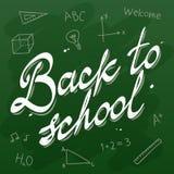 De volta à placa do verde da caligrafia do vetor da escola Fotos de Stock