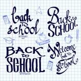 De volta à rotulação da escola e caligráfico na Foto de Stock
