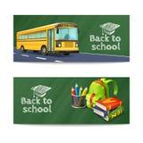 De volta às bandeiras de escola ajustadas Fotos de Stock Royalty Free