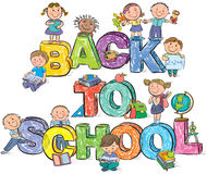 De volta às letras e às crianças engraçadas da escola Fotografia de Stock