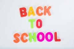 De volta ao alfabeto colorido da escola que aprende letras Imagens de Stock Royalty Free