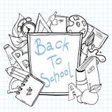 De volta ao caderno esboçado da escola com rotulação ilustração royalty free