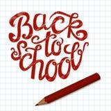 De volta ao cartão de rotulação da mão da escola Imagem de Stock