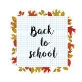 De volta ao cartaz da escola com folhas de outono ilustração do vetor
