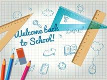 De volta ao cartaz da escola com garatujas Fotos de Stock
