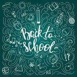 De volta ao cartaz da escola no quadro Imagens de Stock