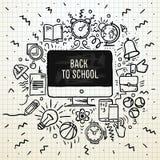 De volta ao cartaz da escola, o caderno esboçado rabisca com rotulação, vector a ilustração Fotos de Stock