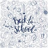 De volta ao cartaz do estilo da garatuja da escola Fotografia de Stock