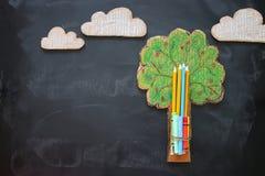 De volta ao conceito da escola Árvore da imagem da vista superior de conhecimento e de lápis sobre o fundo do quadro-negro da sal fotos de stock