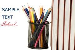 De volta ao conceito da escola com livros e lápis Imagem de Stock