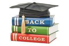 De volta ao conceito da faculdade com livros e tampão da graduação, 3D rendem Imagem de Stock